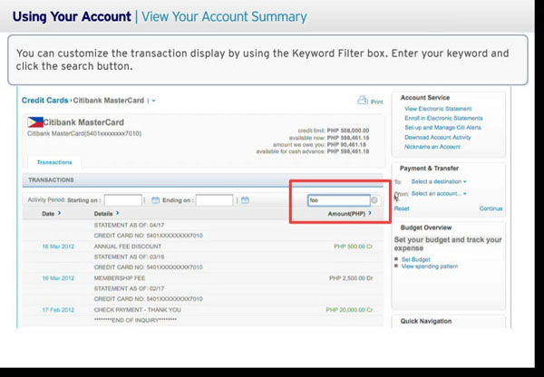 Citibank Account Online >> How to View Your Account Summary in Citibank Online Banking - Banking 1663