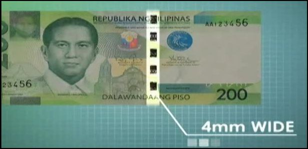 4mm stitch-like metallic security thread in 200 peso bill