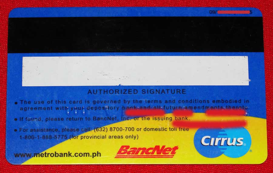 Metrobank ATM Card back view