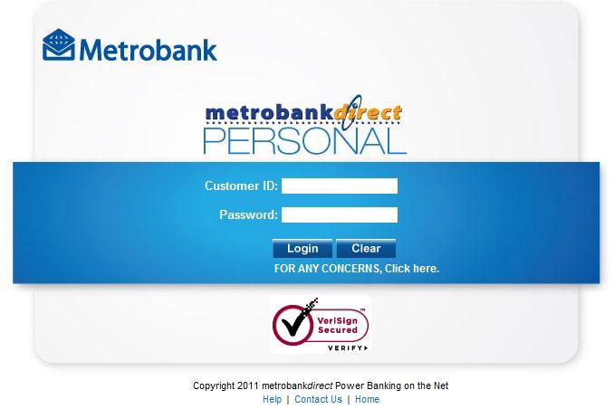 MetrobankDirect Online Banking Homepage