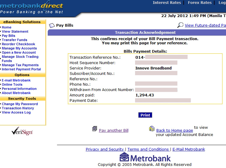 Metrobank online banking transaction acknowledgement