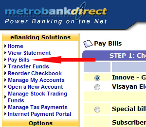 MetrobankDirect online banking Pay Bills