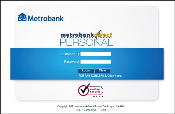 MetrobankDirect new log-in page design