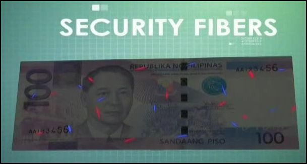 Red and Blue fibers glow in New Philippine Peso Bills