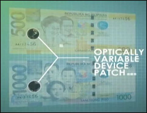 Optically Variable Device Patch in 500 and 1000 pesos