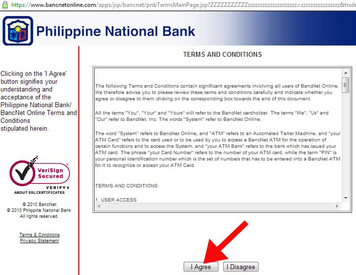 PNB Terms and Conditions with Bancnet