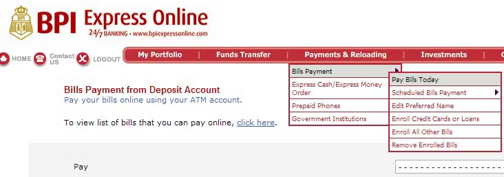Pay Globe Bill Through BPI Online Banking