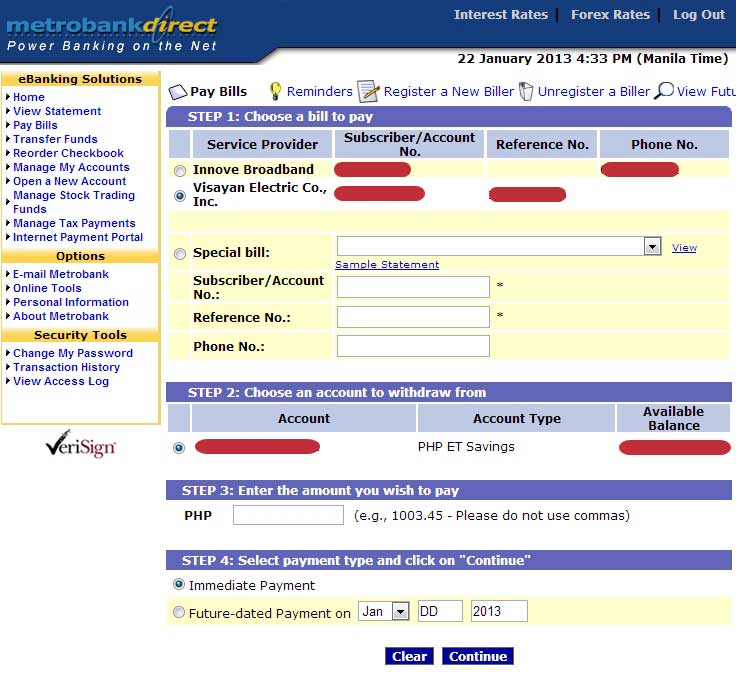 Pay VECO bill through Metrobank Online Banking