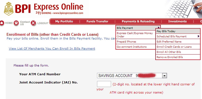 Pay Water Bill Through BPI Online Banking