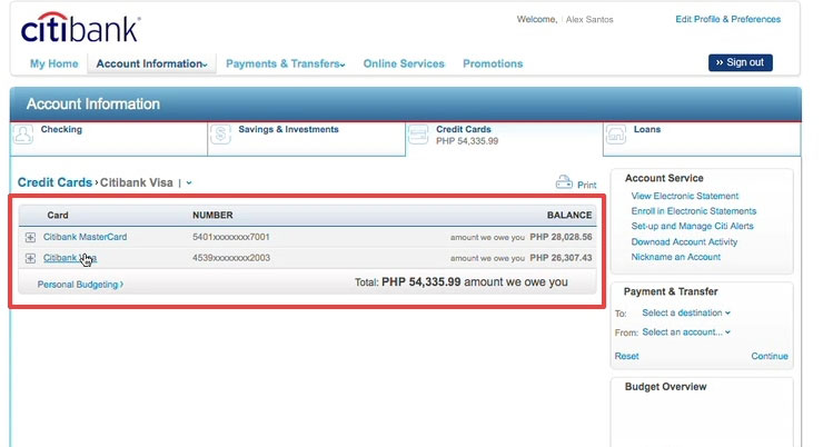 citibank online banking my account