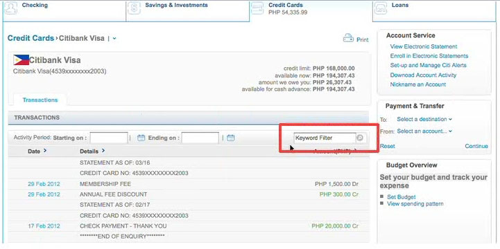 Customize transactions display in Citibank online