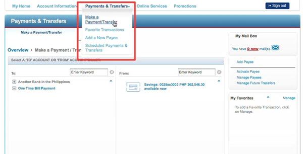 Pay bills or transfer funds through Citibank online banking