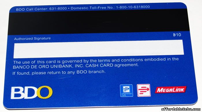 BDO Cash Card back side