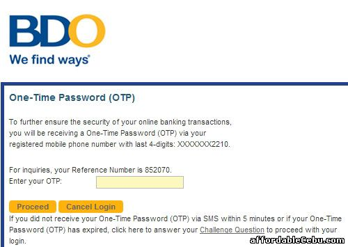 BDO One-Time Password (OTP)