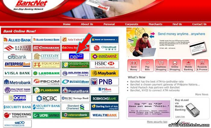 Bancnet website with Development Bank of the Philippines