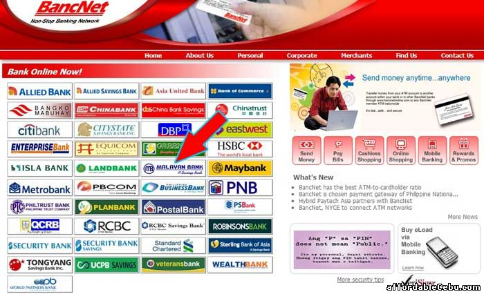 Bancnet website with Malayan Bank