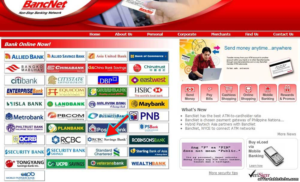 Bancnet website with RCBC Savings Bank