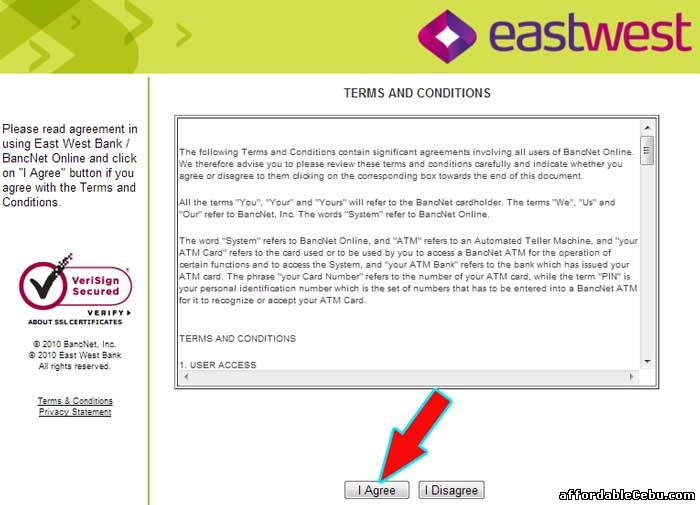 Eastwest Bank Online Terms and Conditions with Bancnet