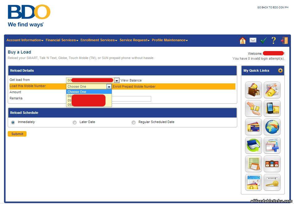 how to send money through online banking bdo