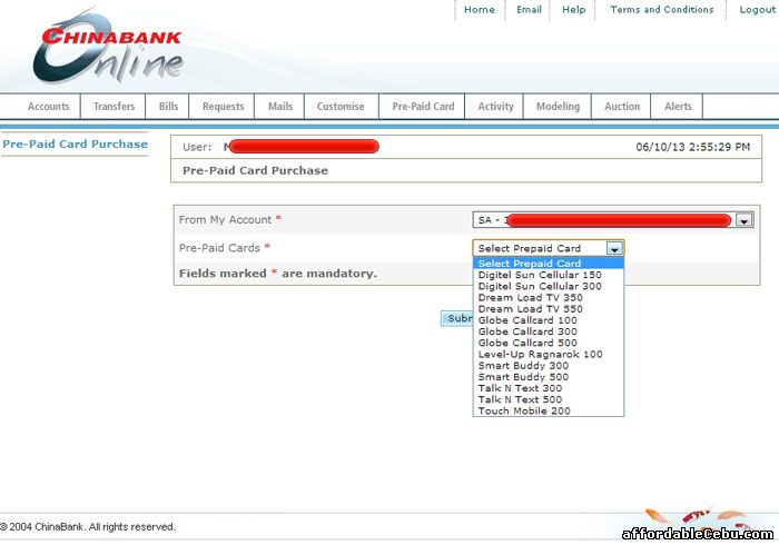 Buy cellphone load through China Bank online banking