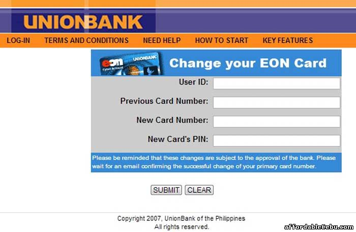 Change Unionbank EON Card Number
