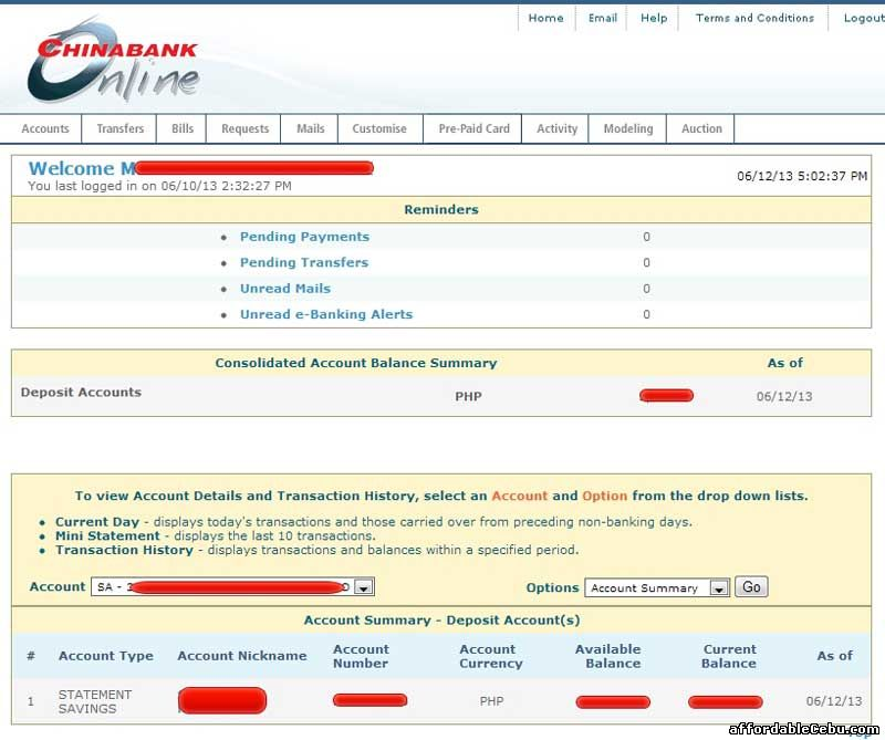 China Bank Balance Inquiry Online