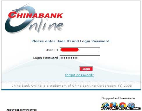 China Bank Online Banking log-in page