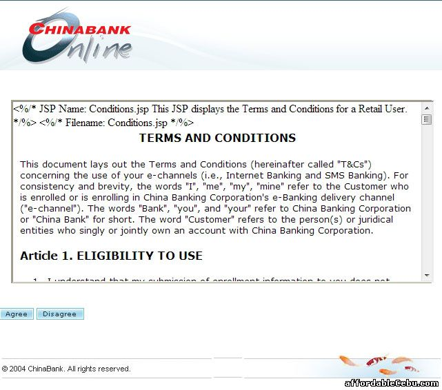 China Bank Online Banking Terms and Conditions