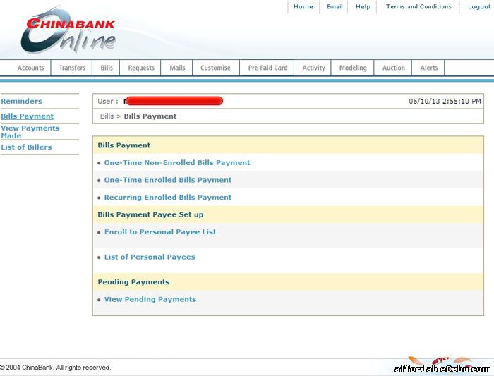 China Bank online banking website