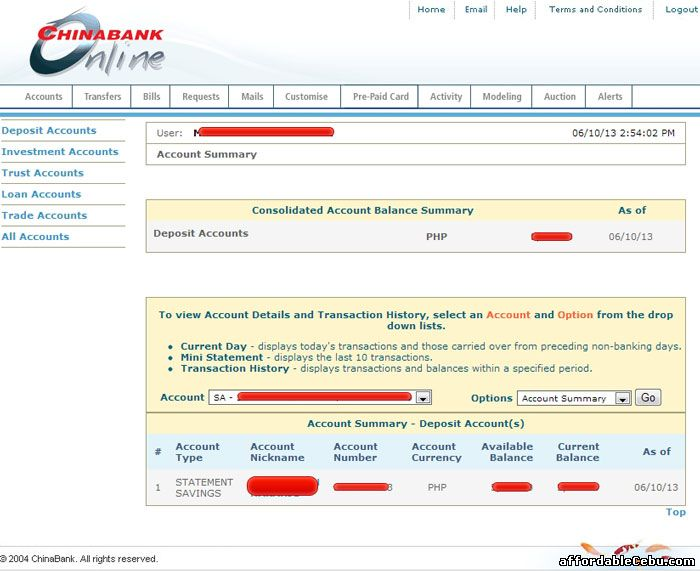 Inside China Bank online banking website