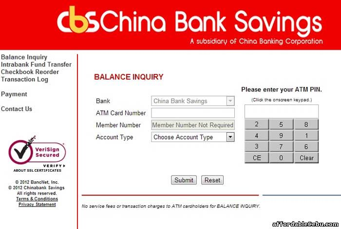 ChinaBank Savings ATM Online Banking Website