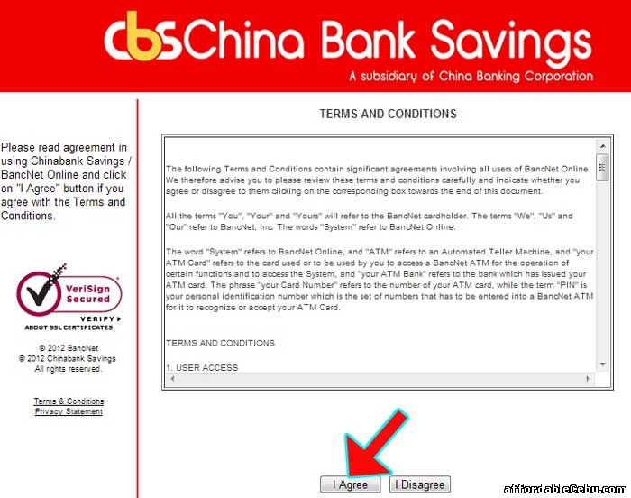 ChinaBank Savings Terms and Conditions with Bancnet