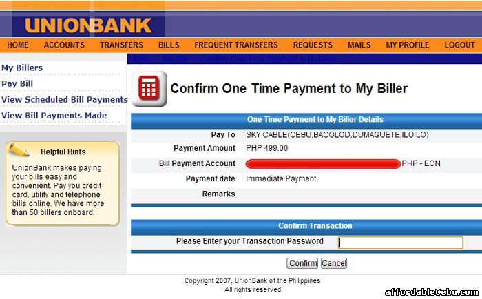 Confirm Sky Cable/Broadband Bill Payment