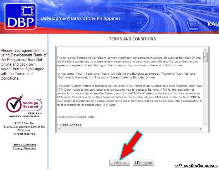 Development Bank of the Philippines Online Terms and Conditions with Bancnet