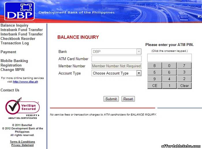 Development Bank of the Philippines ATM Balance Inquiry Online