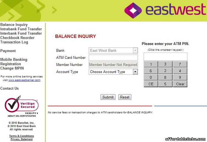 Eastwest Bank ATM Balance Inquiry Online