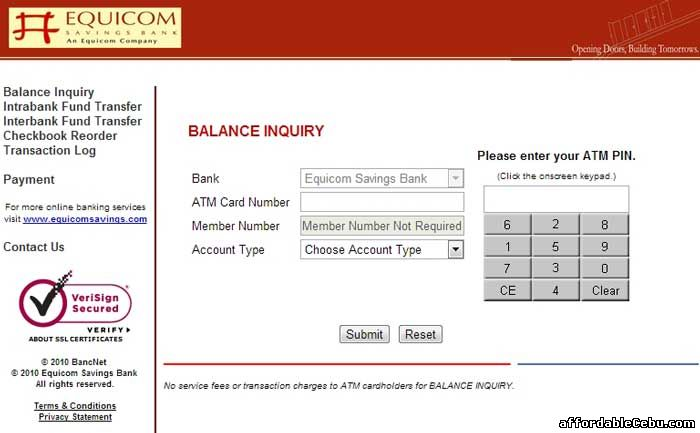Equicom Savings Bank ATM Balance Inquiry Online