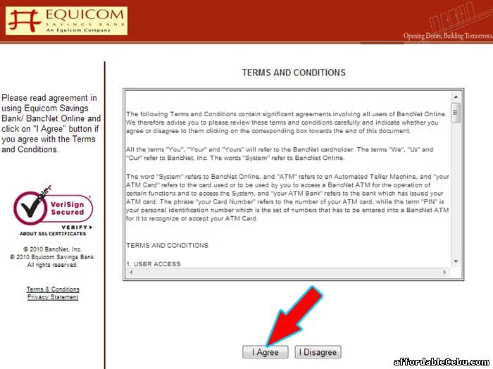 Equicom Savings Bank Online Terms and Conditions with Bancnet