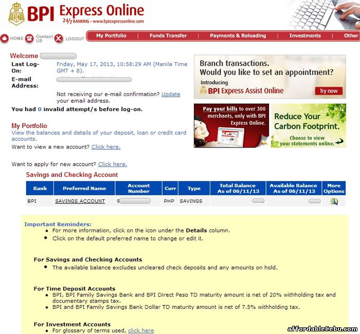 Inside BPI online banking website