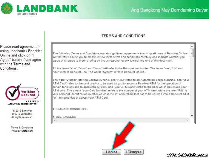 Landbank Online Terms and Conditions with Bancnet
