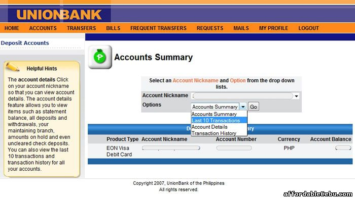 Last 10 transactions of EON account online