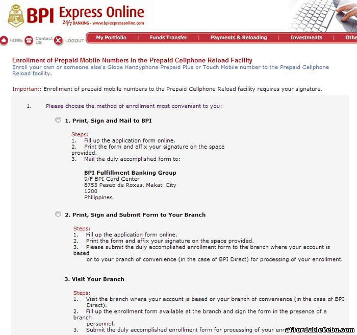 BPI online banking - load your phone
