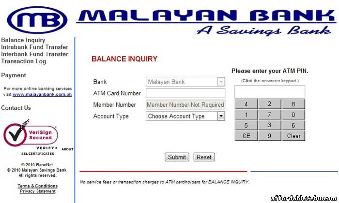 Malayan Bank ATM Balance Inquiry Online