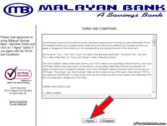 Malayan Bank Bancnet Online Banking Agreement