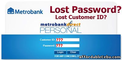 Metrobank lost or forgotten password