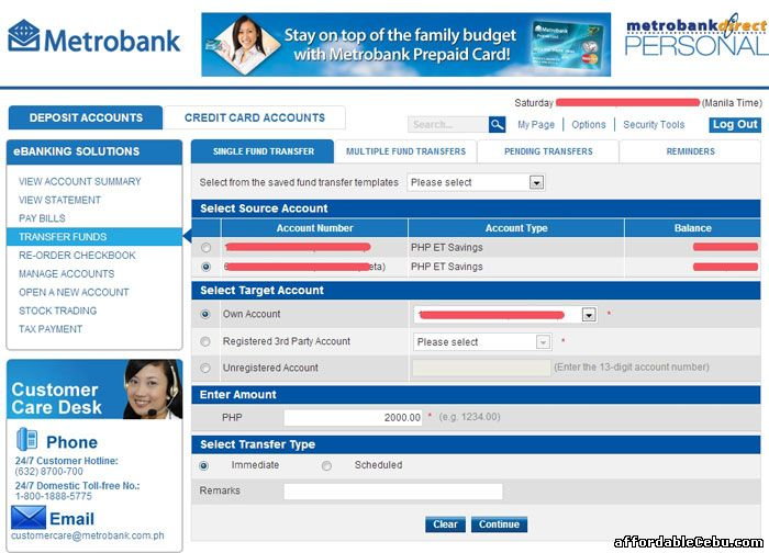 Transfer Money thru Metrobank Online Banking