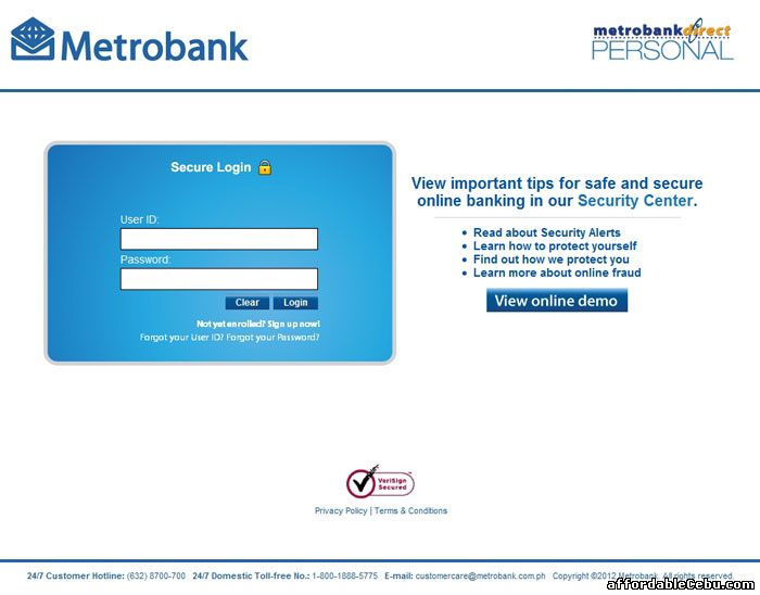 MetrobankDirect Online Banking Log-in Page