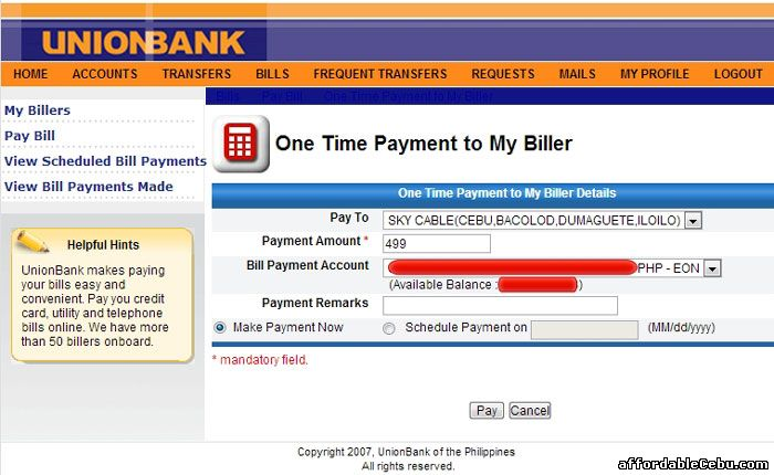 Online Payment to Sky Cable Broadband Bill
