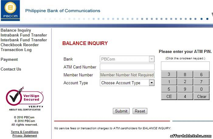 PBCom Bank ATM Balance Inquiry Online