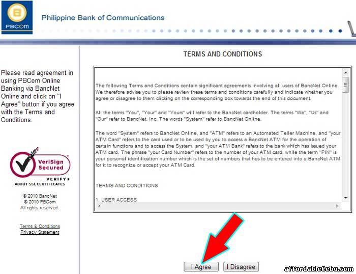 PBCom Bank Online Terms and Conditions with Bancnet